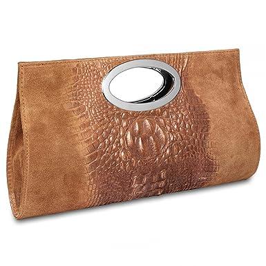 CASPAR Damen Clutch / Handtasche / Umhängetasche aus Wildleder mit Krokoprägung - viele Farben - TL692, Farbe:cognac CASPAR Fashion
