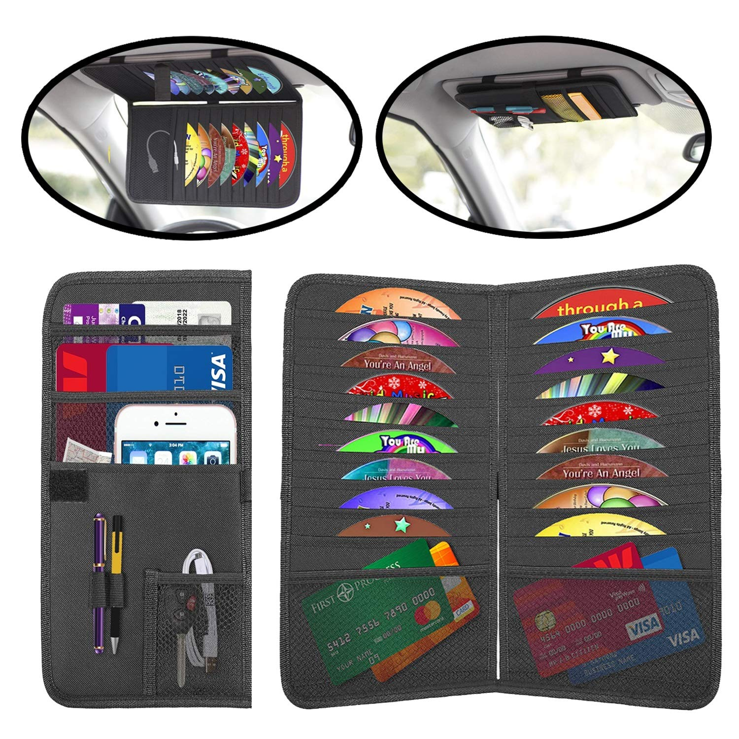 2 In 1 Auto Interior Accessories Organizer Pocket Lebogner Car Sun Visor Organizer And CD Holder Personal Belonging and Registration DVDs Storage Case 18 Pocket CD Document Ticket Storage Pouch