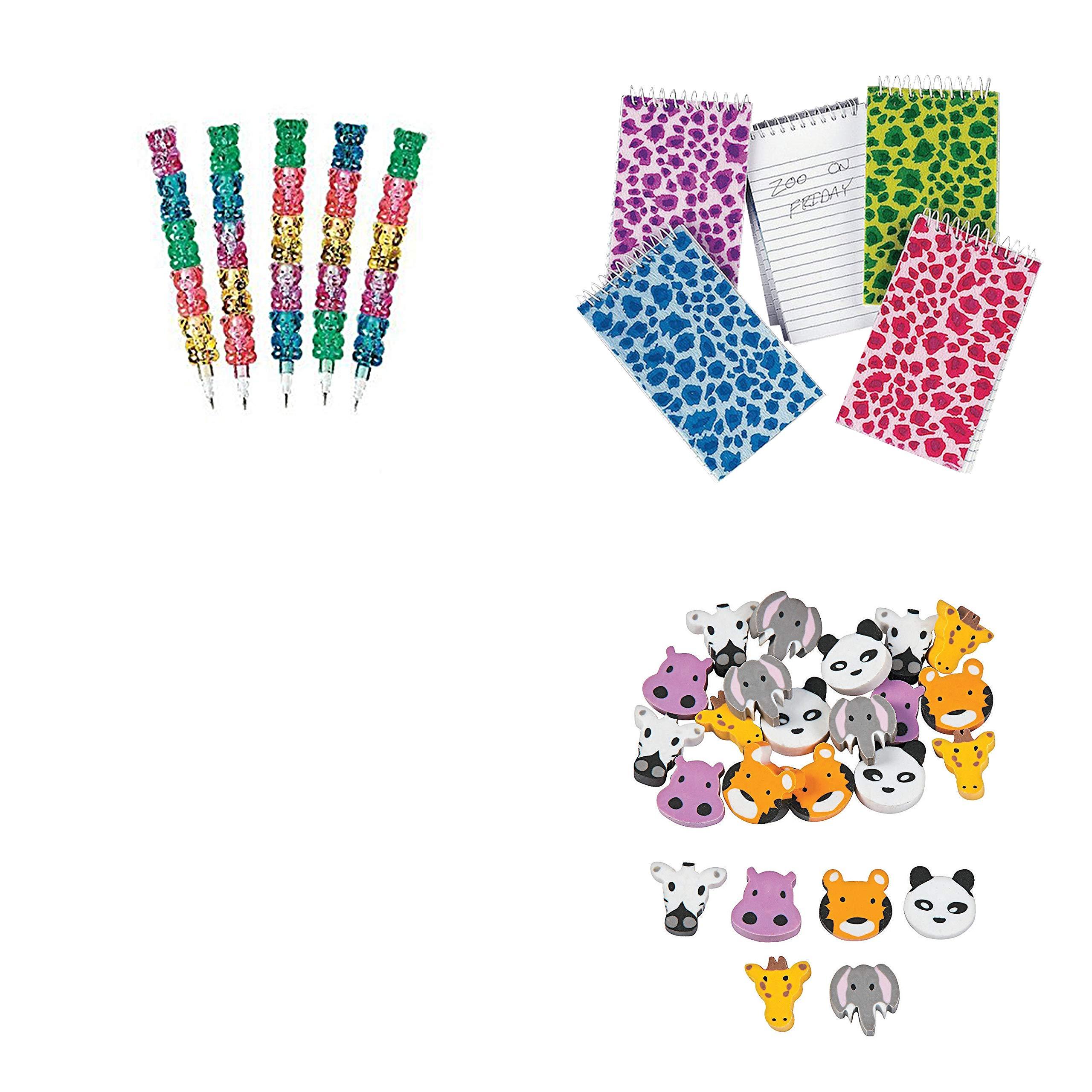 Stackable Bear Pencils, Plush Animal Print Spiral Notepads, Erasers Bundle For 12 People