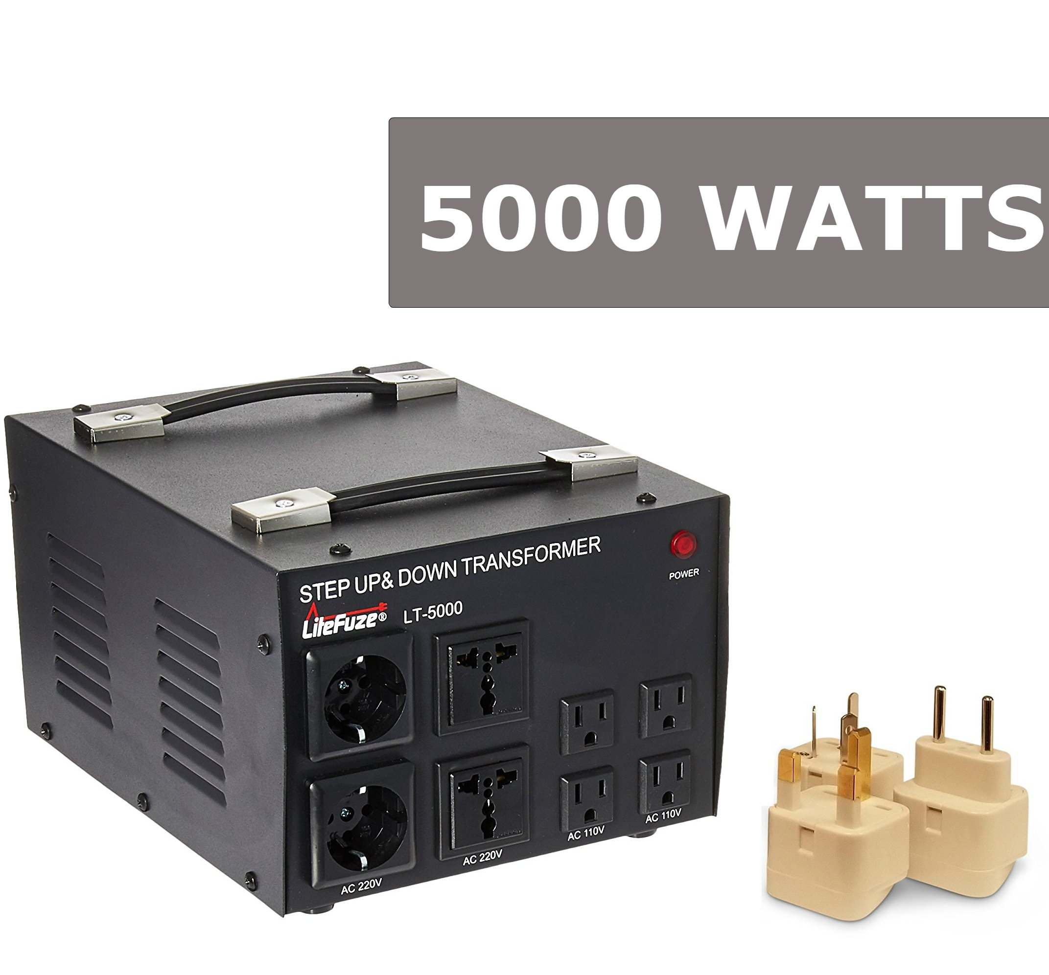 LiteFuze Best 5000 Watts Voltage Converter Transformer Step Up/Down 110V/220V Circuit Breaker Protection Power Converter - with Worldwide UK/US/AU/EU Travel Plug Adapter