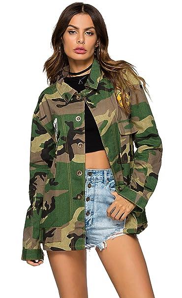 d266ee95f2147 Escalier Women's Camo Jacket Causal Zipper Military Lightweight Jackets(S, Camouflage)