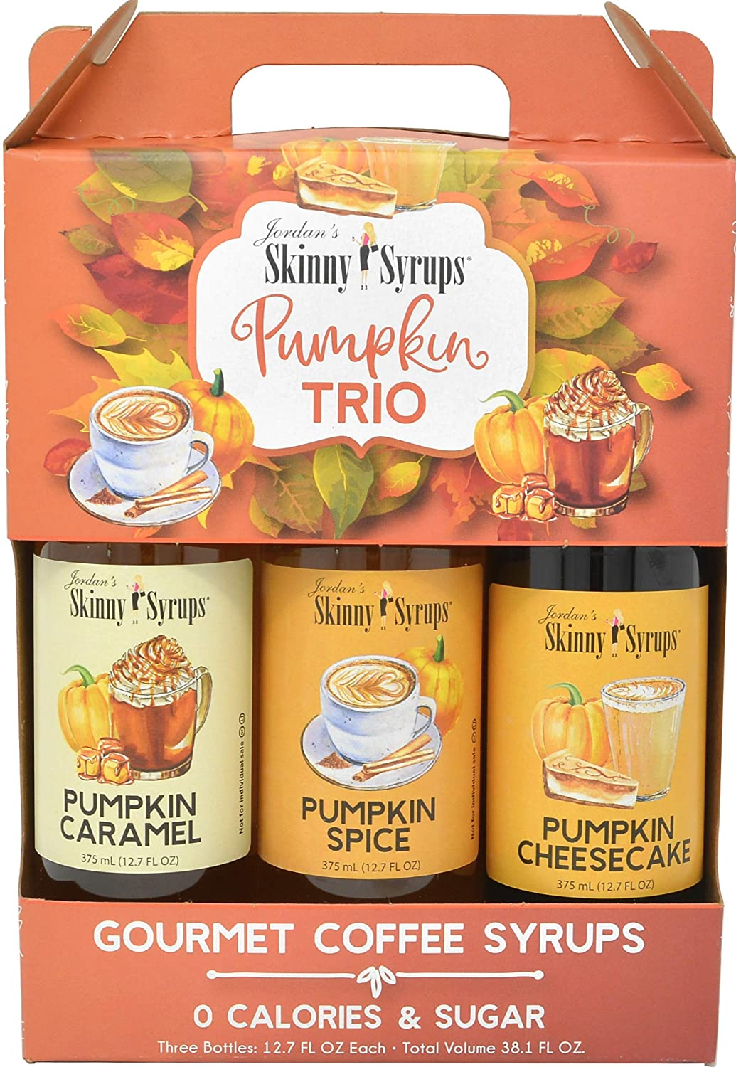Amazon Com Jordans Sugar Free Skinny Syrups 3 Pack Pumpkin Spice Pumpkin Caramel Pumpkin Cheesecake Grocery Gourmet Food