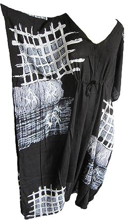 582398e579 Plus Size Long Kaftan Caftan Mumu Beach Cover Up black grey white:  Amazon.co.uk: Clothing