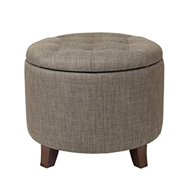 Adeco FT0043-6 Fabric Cushion Round Button Tufted Lift Top Storage Footstool, Height 17 Inches Ottomans & Storage Ottomans Strudy, Brown