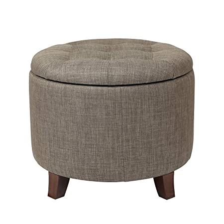 Adeco FT0043-6 Fabric Cushion Round Button Tufted Lift Top Storage Footstool, Height 17 Inches Ottomans Storage Ottomans Strudy, Brown