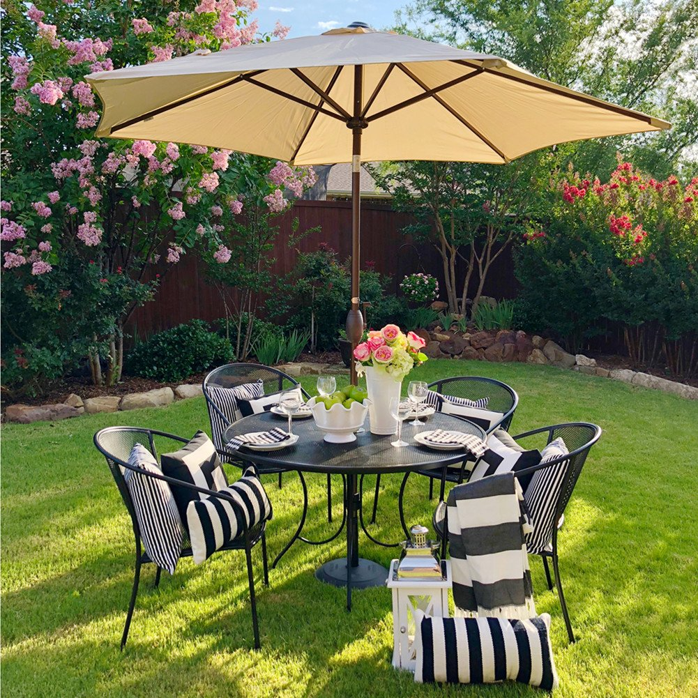 Amazon.com : Abba Patio Outdoor Patio Umbrella 9 Feet Aluminum Market Table  Umbrella With Push Button Tilt And Crank, Beige : Garden U0026 Outdoor