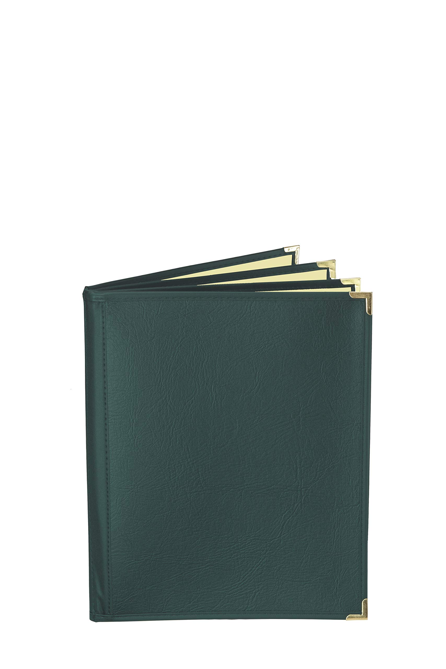 JR SALES CORP, FlexMC-E6V814, 25 Pack of Premium semi-flexible Menu Covers with inside café style pockets, Soft leather-like supported cover with crystal clear vinyl inside pockets. 6 view Booklet. Holds 8.5'' x 14'' Inserts. Color: Green