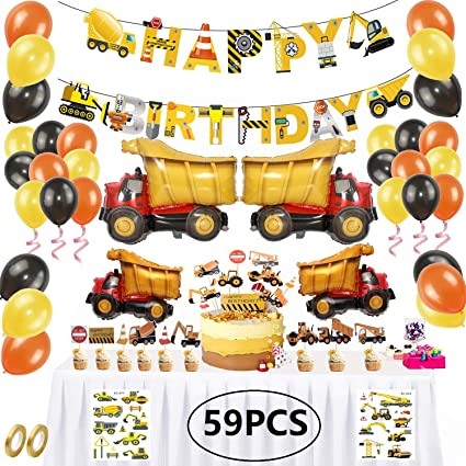 Construction Vehicle Latex Balloons Topper Banner Boys Birthday Party Decoration