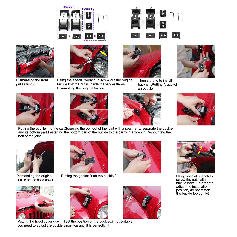 CheroCar Stainless Steel Hood Latches Pins Hood Lock Catch Kit for 2007-2018 Jeep Wrangler JK JKU Black