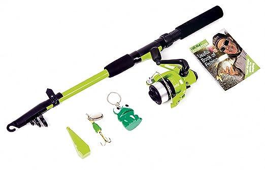 Matt Hayes Adventure Kids frogga Fish4Fun [99-6039659 ] Conjunto de introducción a la pesca, incluye caña telescópica de 1,8 m, carrete a juego, ...