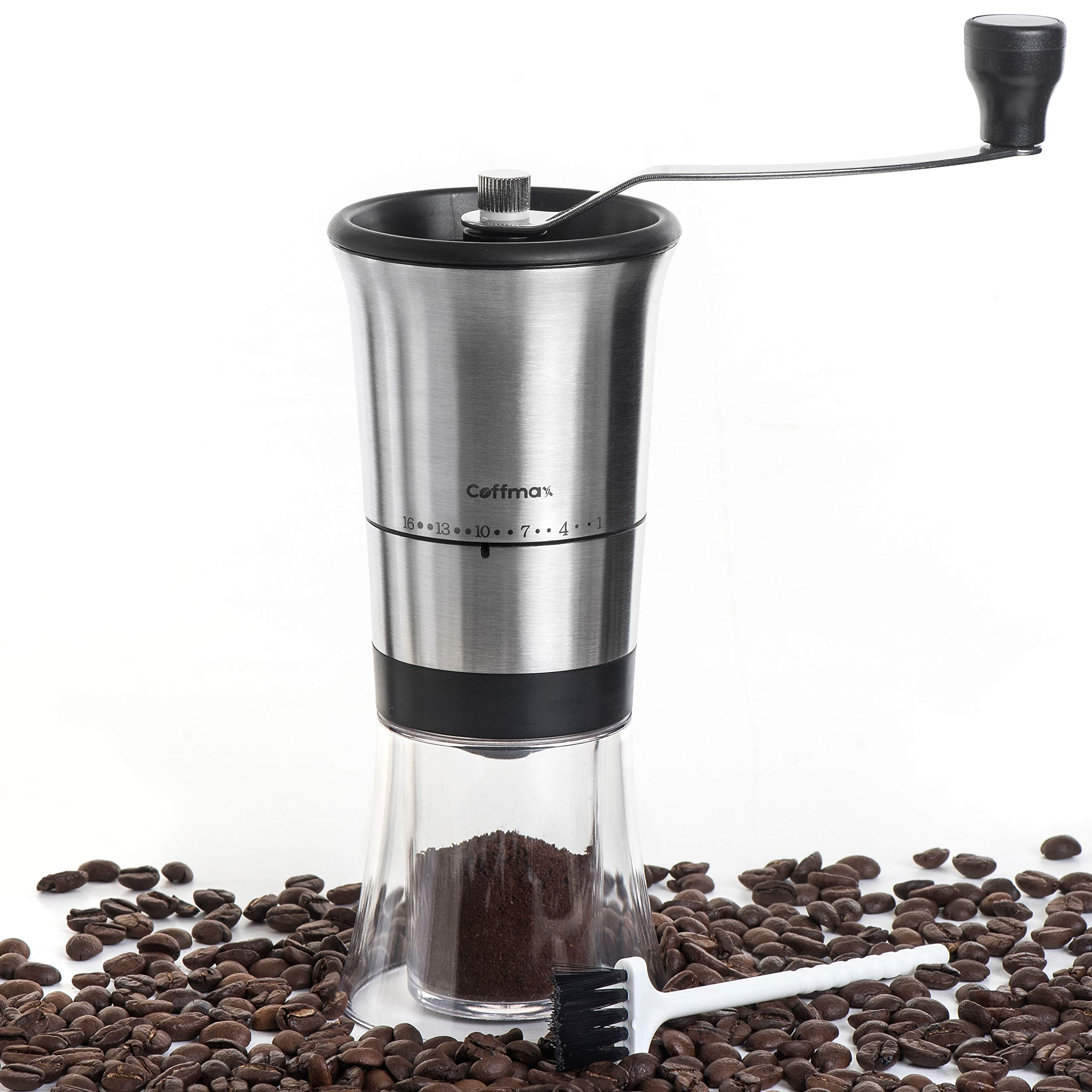 Coffmax Manual Coffee Grinder - Ceramic Conical Burr Mill with 16 Grind Settings - Quiet Coffee Beans Grinder with Stainless Steel Hand Crank + BONUS Cleaning Brush & eBook - Perfect for Travel & Camping