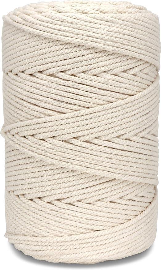 Kolibri Studio - Hilo de macramé 4 mm – 1 kg Rollo 200 m – 100% algodón – Blanco Natural, Fuerte y Resistente – Hilo de algodón: Amazon.es: Juguetes y juegos