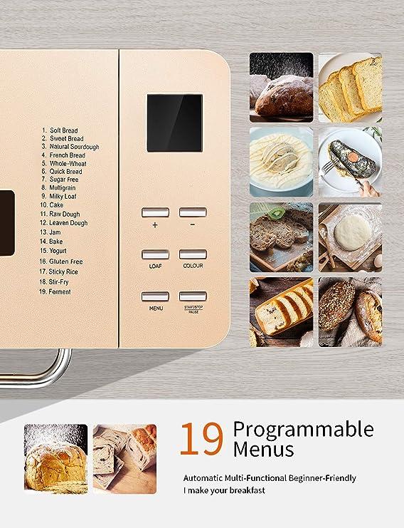Yabano 650W Panificadora de Acero Inoxidable con 19 Programas, 15H, 1kg, Masa