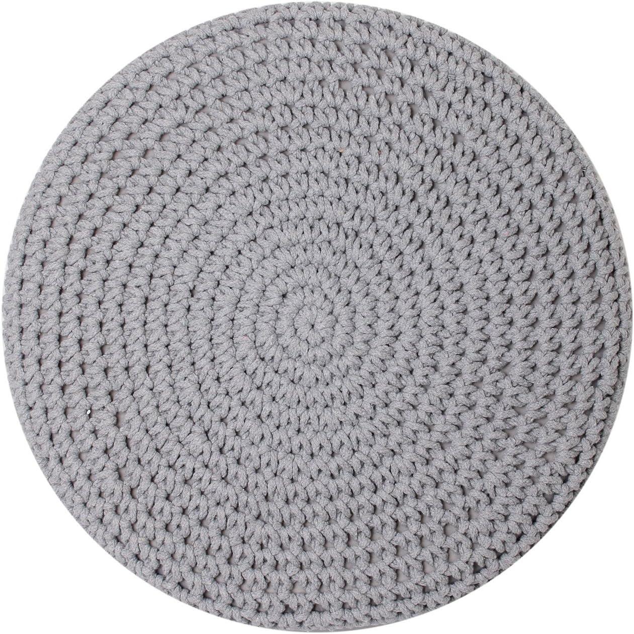 THE HOME DECO FACTORY HD3706 /Pouf poggiapiedi con Piedini in Cotone Intrecciato MDF