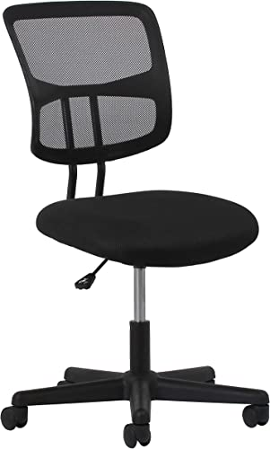 OFM Essentials Collection Swivel Mesh Back Armless Task Chair, in Black ESS-3020