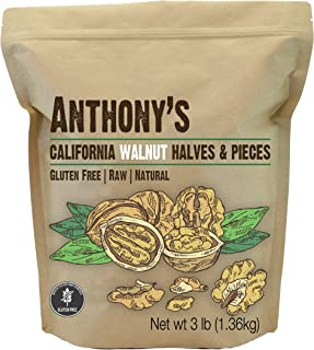 product image for Anthony's California Walnut Halves & Pieces, 3 lb, Shelled, Raw, Natural, Gluten Free, Keto Friendly