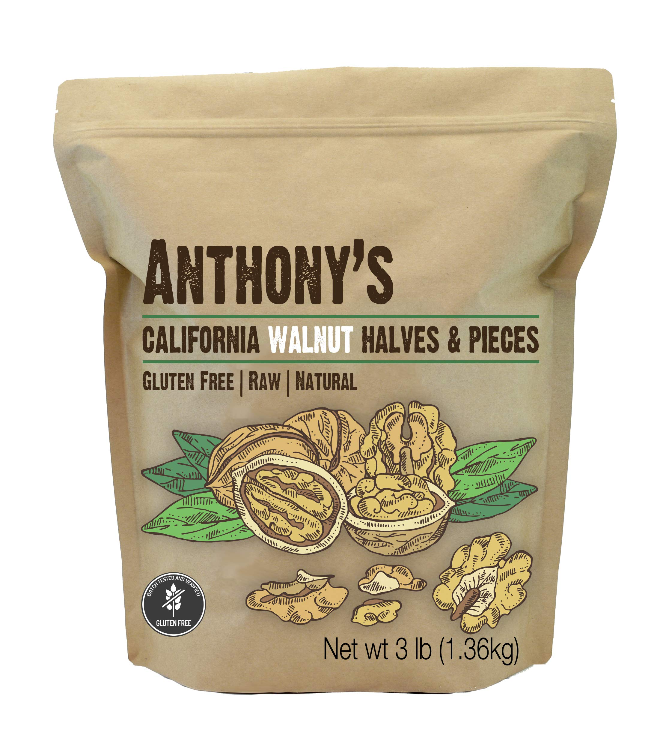Anthony's California Walnut Halves & Pieces, 3lbs, Shelled, Raw, Natural, Gluten Free, Keto Friendly by Anthony's