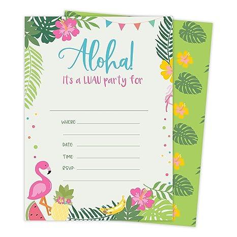 Tarjetas De Invitación De Cumpleaños De Luau 1 Hawaiana 25