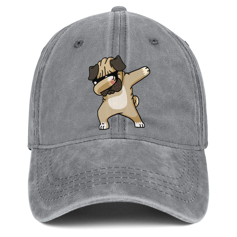 Dabbing Pug Dog Dancing Unisex Baseball Cap Polyester Sport Baseball Hats Adjustable Trucker Caps Dad-Hat
