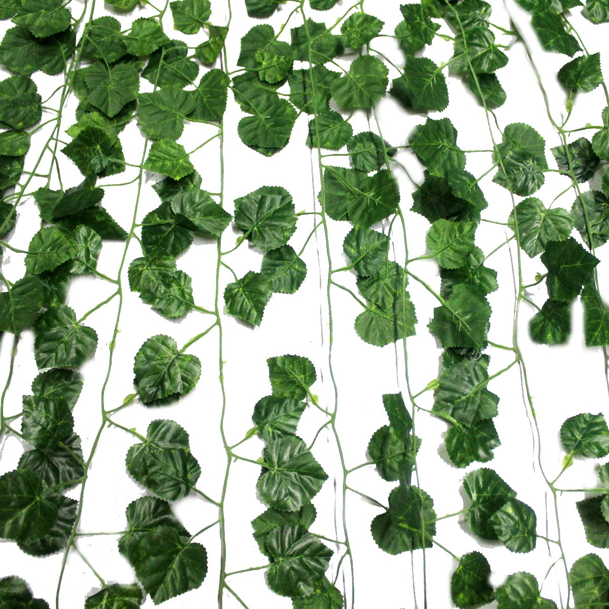 12 Pack Each 82 inch Artificial Greenery Fake Hanging Vine Plants Leaf Grape Leaves Garland Hanging for Wedding Party Garden Outdoor Greenery Office Wall Decoration GPARK ZSG-Flower002-002