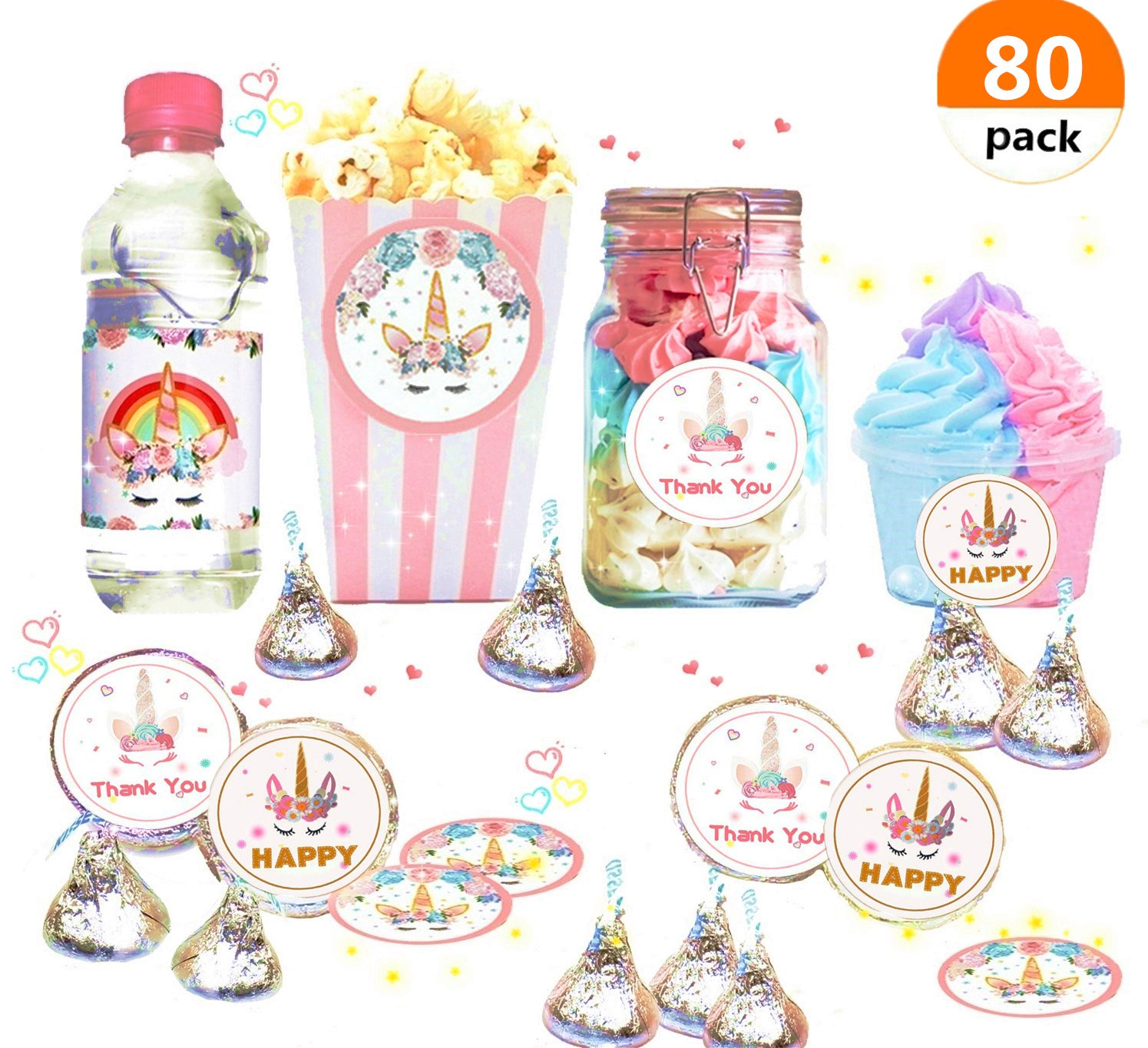 (80 Pack) JeVenis Magical Rainbow Unicorn Stickers Thank you Stickers Water Bottle Sticker Labels for Unicorn Party Supplies Baby Shower Birthday Party