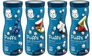 Gerber Graduates Puffs Cereal Snack, Variety (Blueberry, Apple Cinnamon, Vanilla, Strawberry Apple)1.48 Oz,(Pack -4)