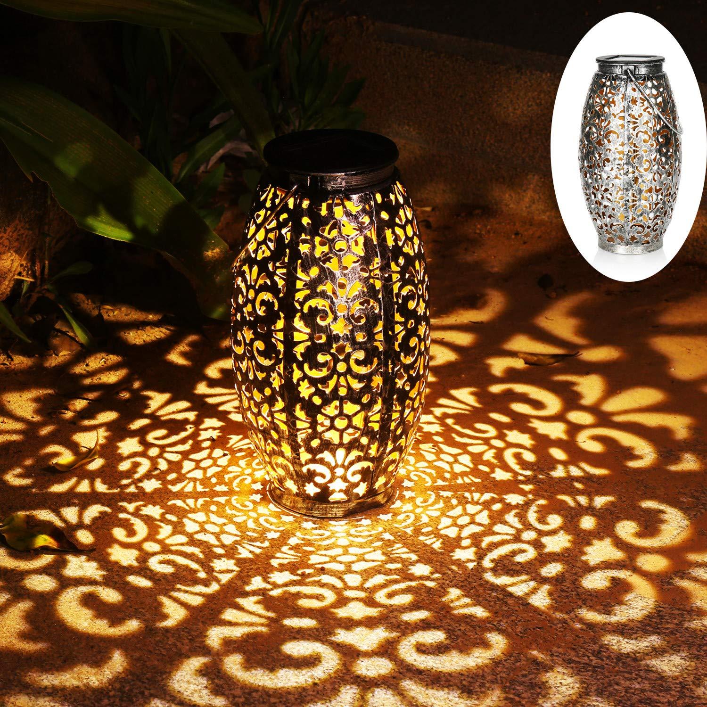 Solar Lantern Lights for Hanging or Table Outdoor Solar Light for Patio Courtyard Garden (Silver) by Kaixoxin