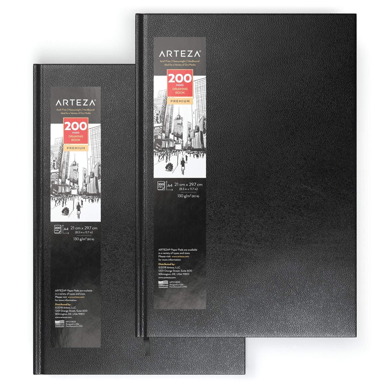 2er-Pack je 200 Blatt Ideal zum Zeichnen DIN A4 21 x 29.7 cm ARTEZA Hardcover-Skizzenbuch Mittelschweres Zeichenpapier 130 g//m/² Skizzieren und Malen