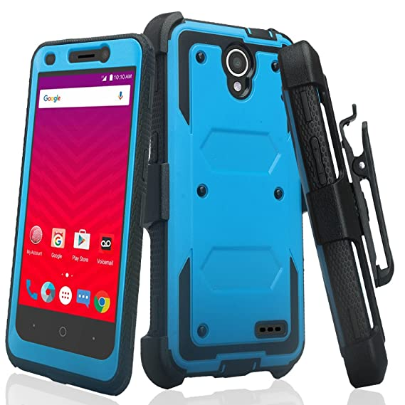 best website 5f6ea 2f2fa CoverLabUSA Compatible for ZTE Maven 3 Case, ZTE Overture 3 Case [Built In  Screen Protector] Full-Body Rugged Holster Case [Belt Swivel ...