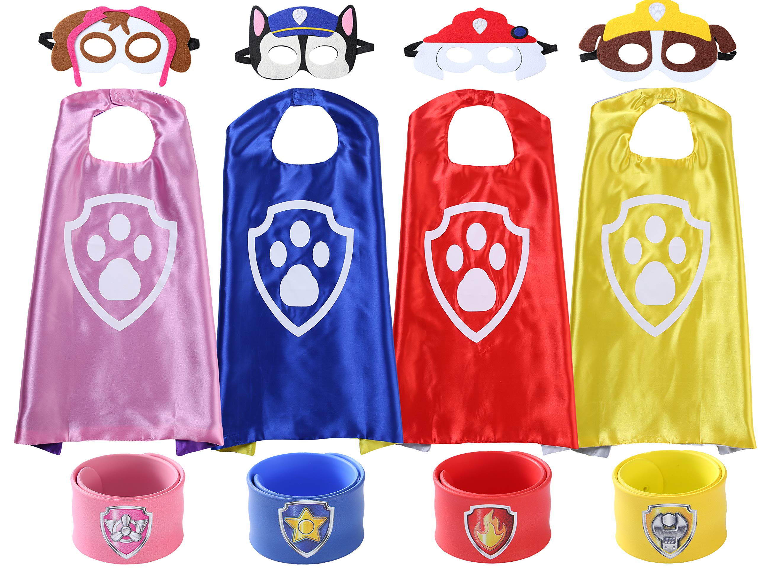 The Mass Superheros Dress Up Costumes 4 Satin Capes with Felt Mask Matching Wristbands for Kids
