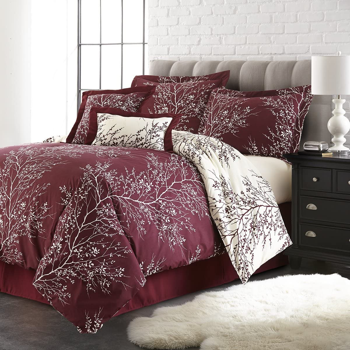 Spirit Linen Hotel 5Th Ave 6-Piece Foliage Collection Plush Reversible Comforter Set, Queen, Burgundy/Ivory