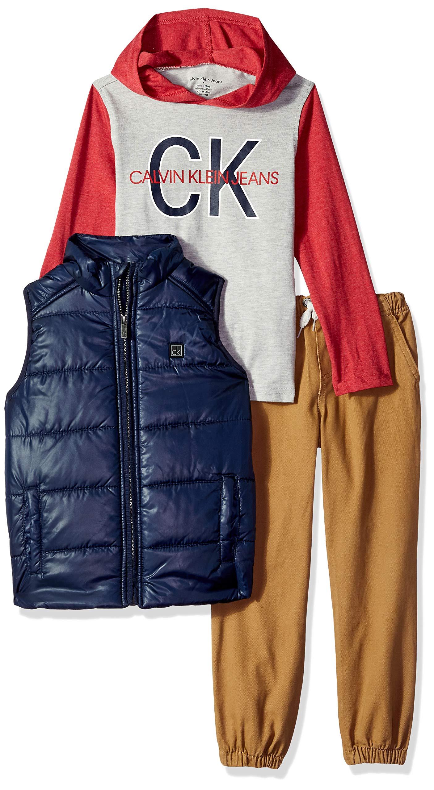 Calvin Klein Boys' 3 Pieces Vest Set-Hooded Tee