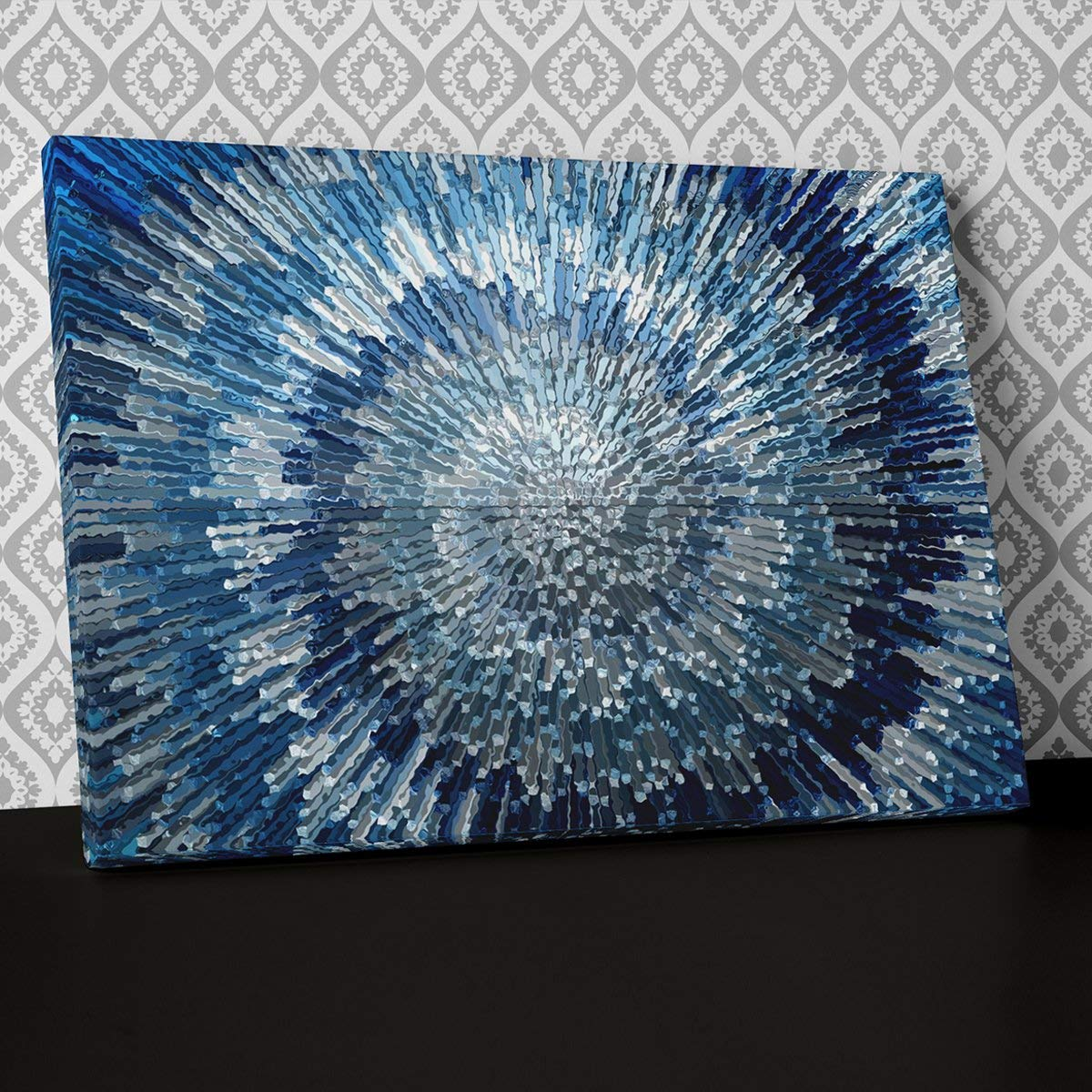 Blue Silver Swirl Design Canvas Wall Art, Framed Ready to Hang Picture Print AB283