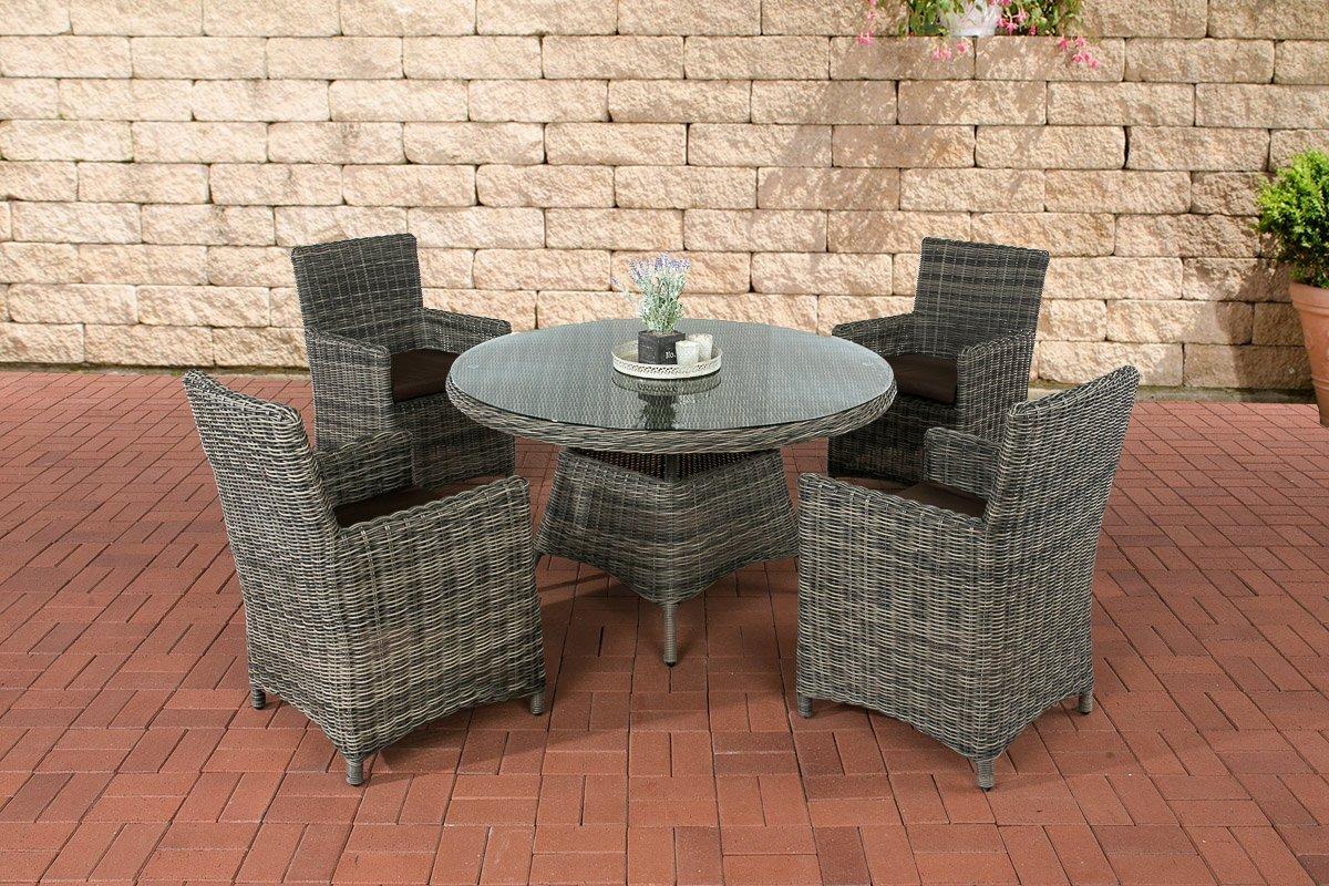 CLP Polyrattan Sitzgruppe PINELLA grau-meliert (4 Stühle + Tisch 130x130 cm) INKL. Sitzkissen, Premiumqualität: 5mm Rundrattan grau-meliert, Bezugfarbe terrabraun