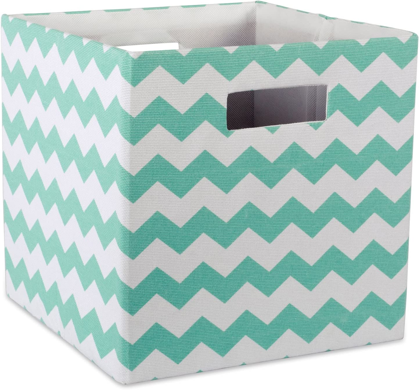 "DII Hard Sided Collapsible Fabric Storage Container for Nursery, Offices, & Home Organization, (11x11x11"") - Chevron Aqua"