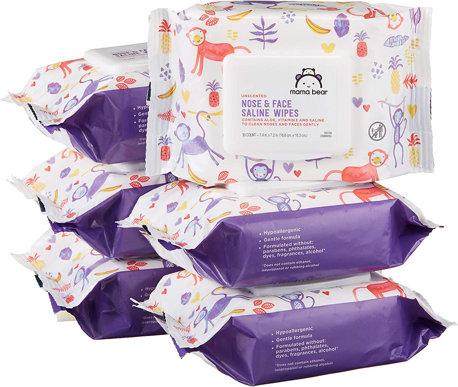 Amazon Brand - Mama Bear Saline Nose and Face Baby Wipes, Hypoallergenic, Unscented, 180 Count (6 Packs of 30 Wipes)