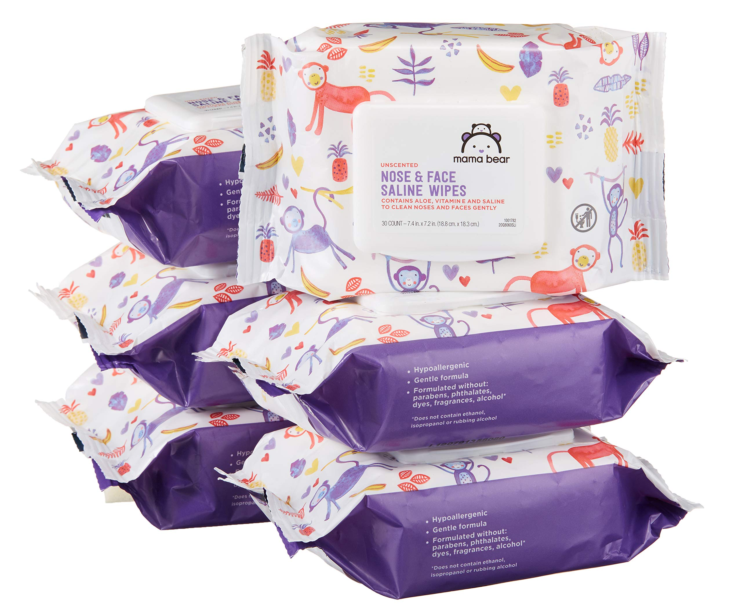 Amazon Brand - Mama Bear Saline Nose and Face Baby Wipes, Hypoallergenic, Unscented, 180 Count (6 Packs of 30 Wipes) by Mama Bear