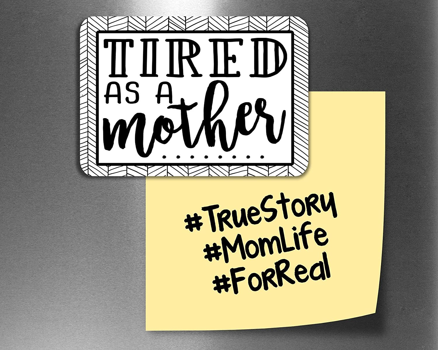 Tired as a Mother Funny Fridge Magnets, Refrigerator Magnets with Quotes, Funny Kitchen Decor Noticeboard Office Supplies, Best Housewarming Home Decorations Gift