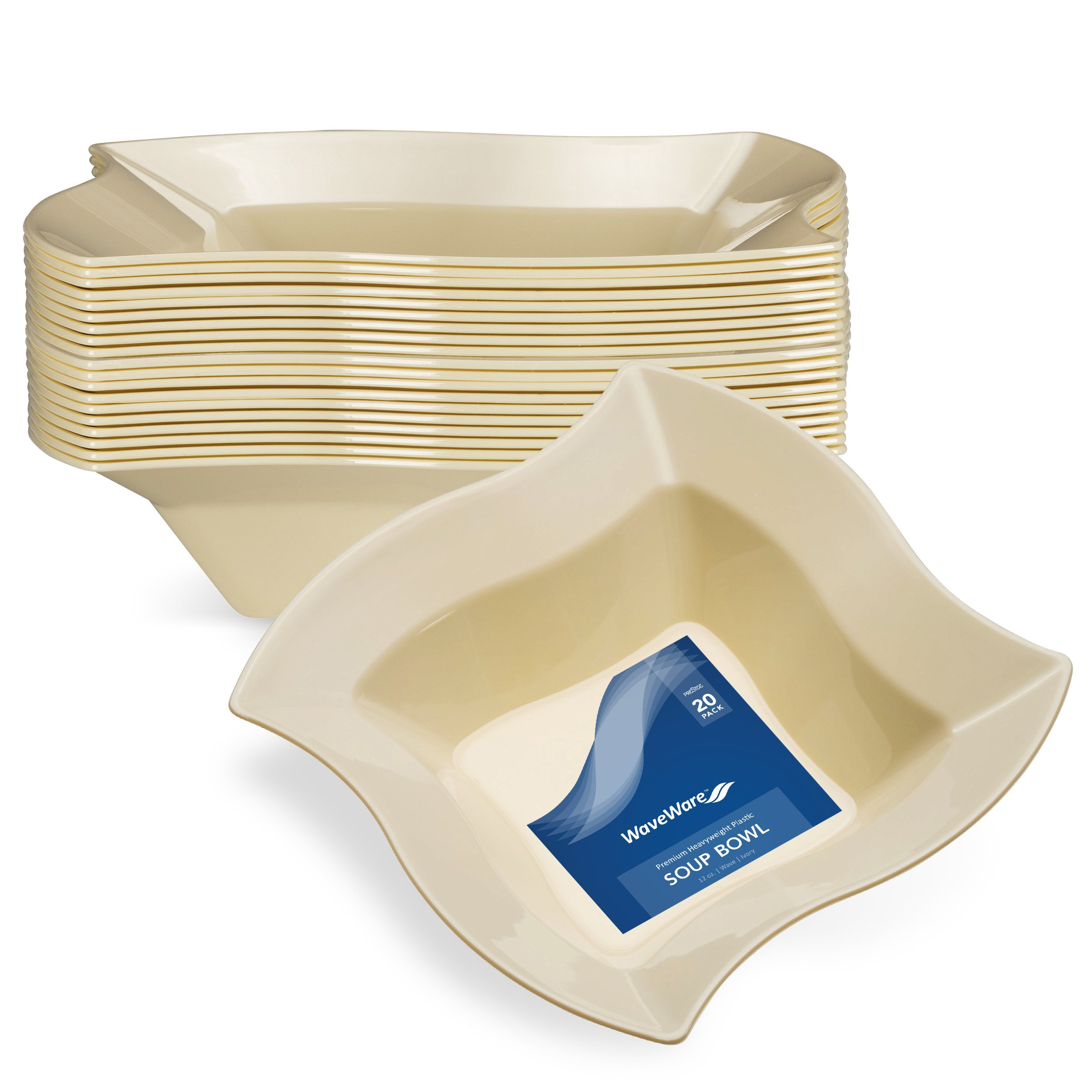 WAVEWARE PLASTIC PARTY DISPOSABLE BOWLS | 12 Ounce Ivory Hard Square Wedding Soup Bowls, 20 Ct | Elegant & Fancy Heavy Duty Hard Party Supplies Plates for all Holidays & Occasions by Prestee