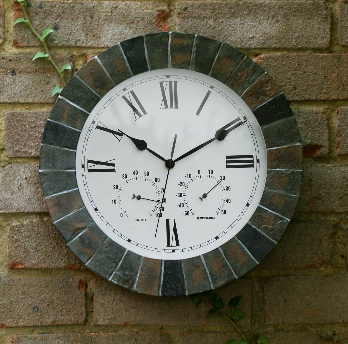 Garden clock about time slate effect garden outdoor wall clock with thermometer amipublicfo Choice Image