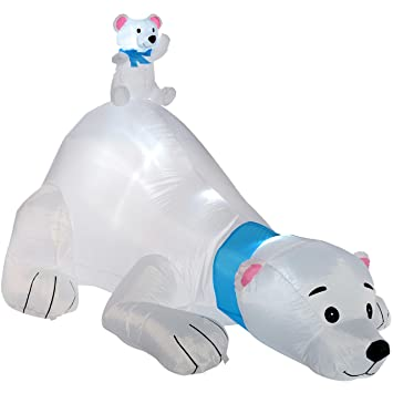 werchristmas pre lit polar bear inflatable christmas decoration with led lights and fan 180