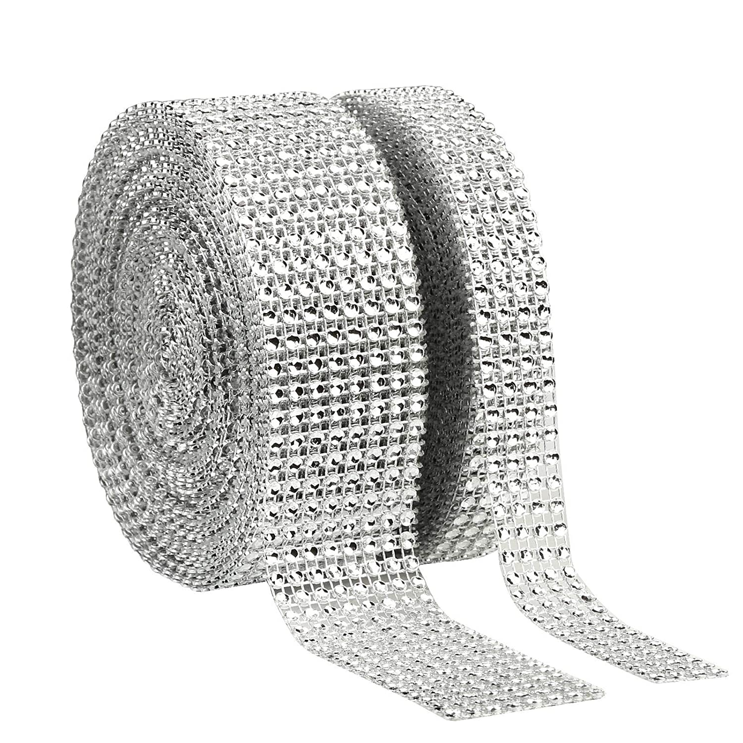 LANMOK Rhinestone Ribbon 8 Row 10 Yard and 4 Row 10 Yard Acrylic Diamond Ribbon Roll Mesh Wrap for Wedding Cake Vase Centerpiece Party Decoration Art Crafts Projects (Silver)