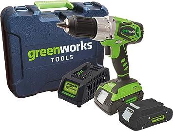 Greenworks Akkubohrschrauber Im Koffer 24v Inkl 2 Akkus 2 Ah Und Ladegerät Baumarkt