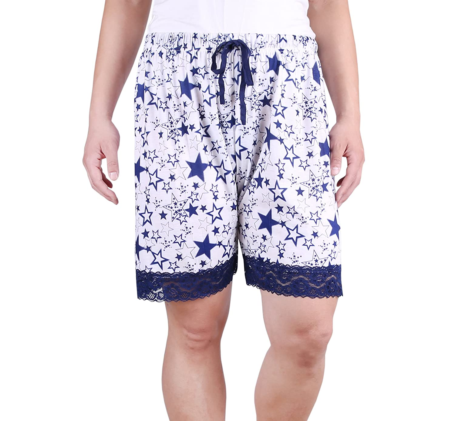 ZERDOCEAN Women's Plus Size Printed Sleep Shorts Pajamas with Lace Trim Sleep-Shorts-ss01-2X