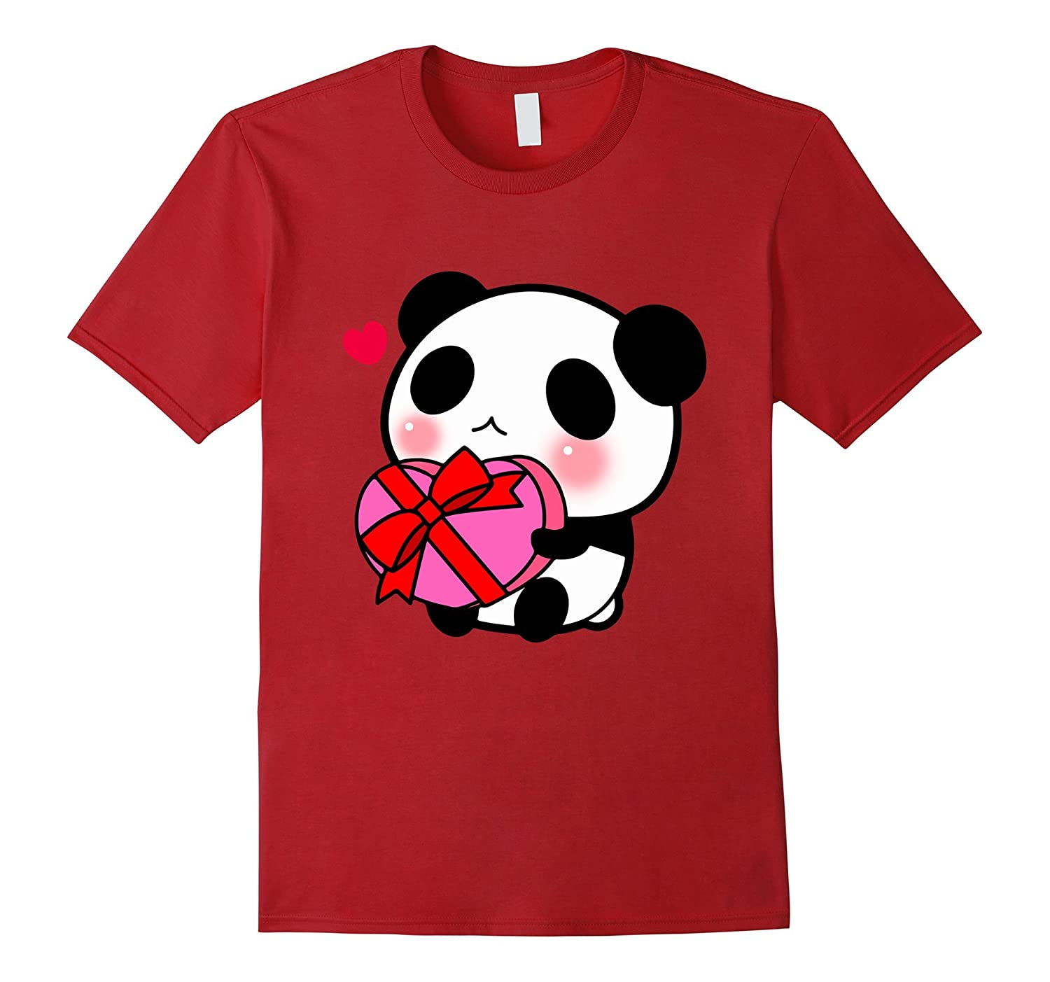 Cute Panda Red Heart Gift T-Shirt Valentine Pink Gift Blush-CL