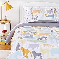 AmazonBasics Kids Easy-Wash Microfiber Bed-in-a-Bag Bedding Set - Twin, Animal Safari