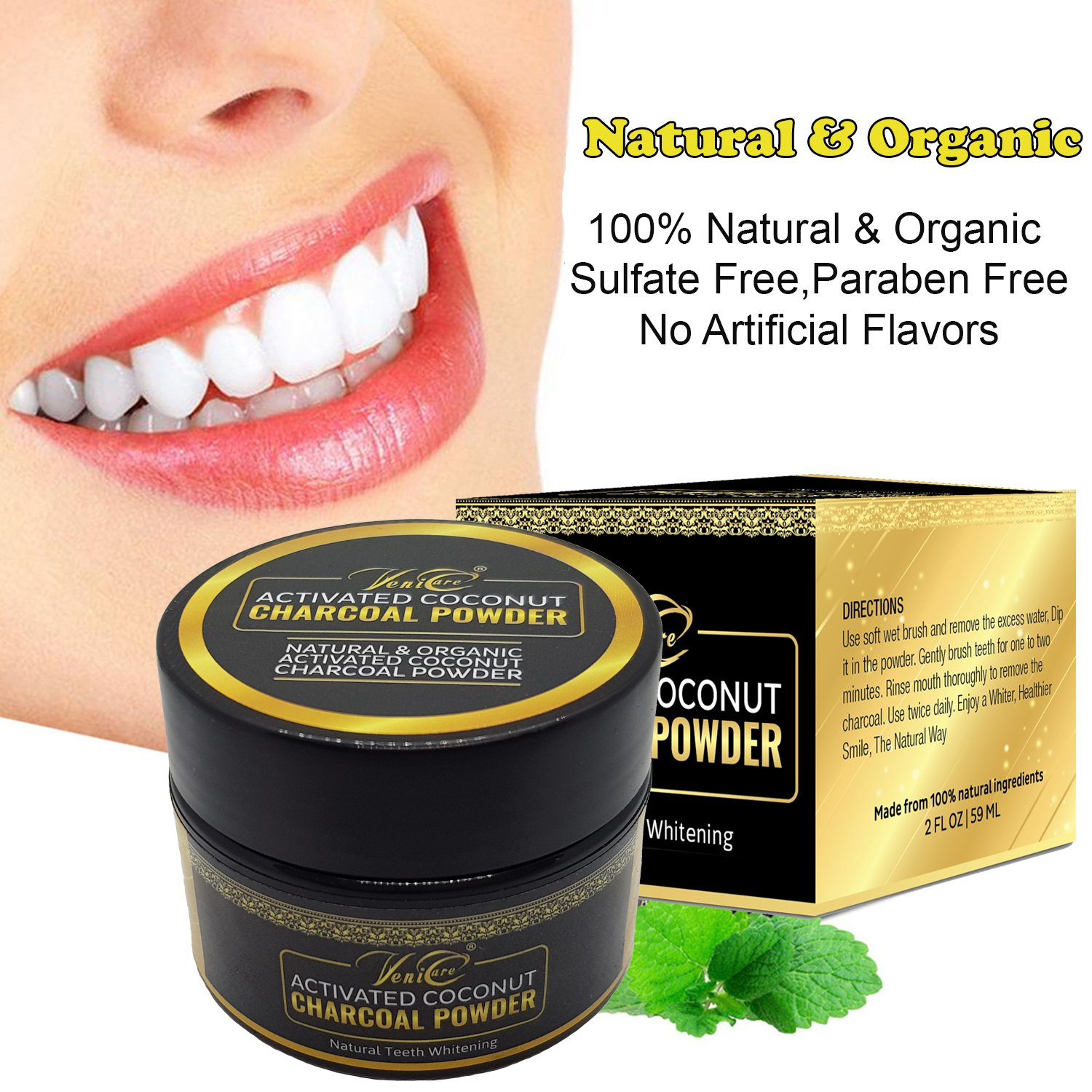 VeniCare All Natural Teeth Whitening Powder with Organic Coconut Activated Charcoal - Safe Effective Tooth Whitener Solution for Stronger Healthy Whiter Teeth 2 FL OZ- 59ML