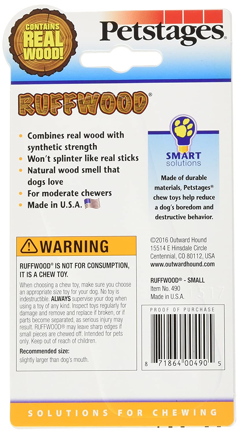Petstages 490 Ruffwood Wooden Dog Chew Toy Small
