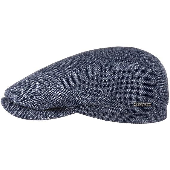 072f7392e412bf Stetson Mottled Blue Virgin Wool & Linen Traditional Summer Driver Flat Cap  Hat (56cm)
