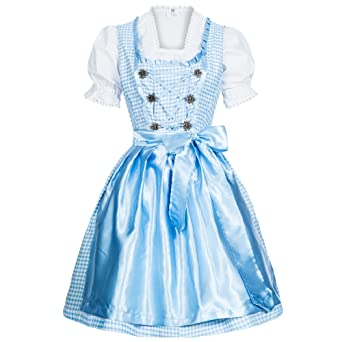 Dirndl Set 3 tlg. Trachtenkleid kariert in verschiedenen Farben in Größe 34 bis 46, der Marke Gaudi-Leathers